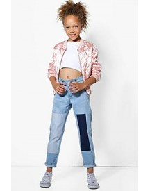 Girls Patchwork Denim Boyfriend Jeans afbeelding