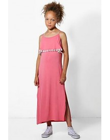 Girls Pom Pom Frill Maxi Dress afbeelding