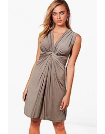 Grace Knot Front Sleeveless Fitted Dress afbeelding