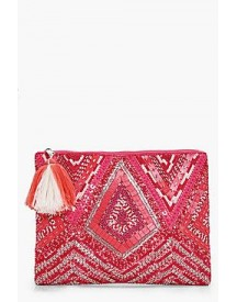 Grace Pink Embellished Zip Top Clutch afbeelding