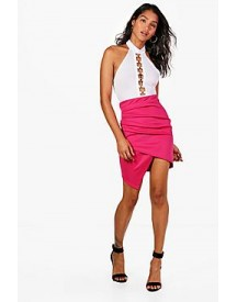 Gracie Rouched Side Asymetric Mini Skirt afbeelding
