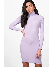 Hannah Ribbed High Neck Bodycon Dress afbeelding