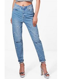 Hannah Slim Fit Pearl Detail Mom Jeans afbeelding