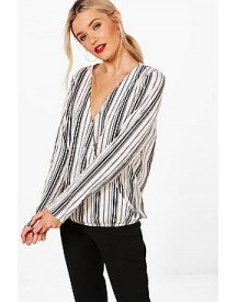 Hannah Stripe Wrap Front Shirt afbeelding