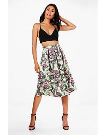 Harriet Bright Leaf Box Pleat Skater Skirt afbeelding