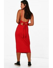 Harriet Low Back Tie Midi Dress afbeelding
