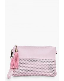 Holly Perforated Zip Top Clutch afbeelding