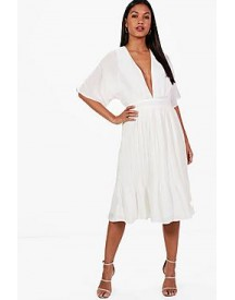 Jeanie Kimono Pleated Skirt Midi Dress afbeelding