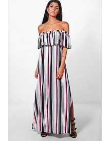 Jess Off Shoulder Stripe Maxi Dress afbeelding