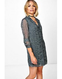 Jessica Star Printed Pyjama Shirt Dress afbeelding