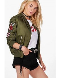 Joanna Floral Patch Satin Bomber afbeelding
