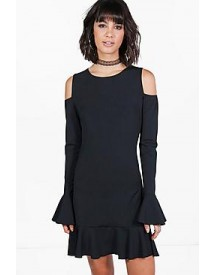 Joanna Frill Detail Cold Shoulder Bodycon Dress afbeelding