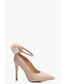 Josie Faux Fur Pom Trim Ankle Court Shoe afbeelding