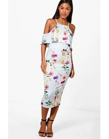 Joy Double Layer Floral Midi Dress afbeelding