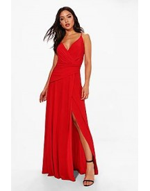 Julia Wrap Ruched Strappy Maxi Dress afbeelding