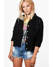 Karla Oversize Distressed Denim Jacket afbeelding