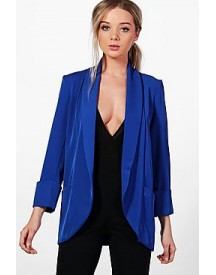 Katie Shawl Collar Pocket Textured Blazer afbeelding