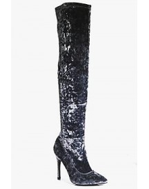 Keira Velvet Thigh High Pointed Boot afbeelding