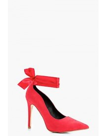 Laila Pointed Toe Bow Trim Court Shoes afbeelding