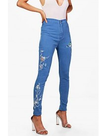 Lara High Rise Embroidered Tube Jeans afbeelding