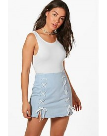 Laura Lace Up Micro Mini Denim Skirt afbeelding