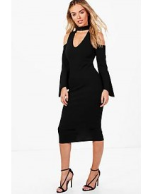 Lianne Choker Cold Shoulder Flute Sleeve Midi Dress afbeelding