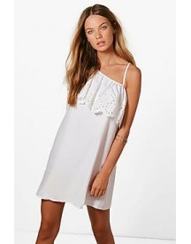 Lianne One Shoulder Embroidered Shift Dress afbeelding