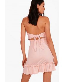 Lily Tie Back Drop Hem Off Shoulder Swing Dress afbeelding