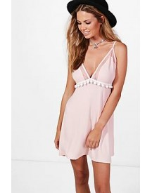 Lois Pom Pom & Mesh Mix Skater Dress afbeelding