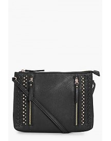 Lola Zip Stud And Lattice Cross Over Bag afbeelding