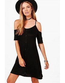 Lottie Button Through Cold Shoulder Swing Dress afbeelding