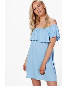 Louise Frill Detail Off The Shoulder Swing Dress afbeelding