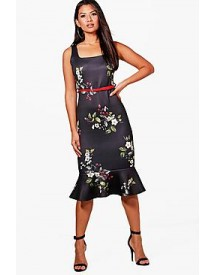 Lucy Floral Belted Frill Hem Midi Dress afbeelding