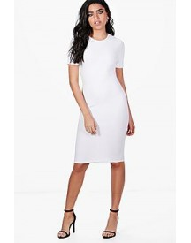 Lucy Short Sleeve Textured Midi Dress afbeelding