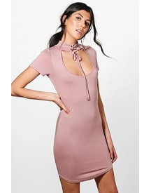 Lydia Choker Lace Up Bodycon Dress afbeelding