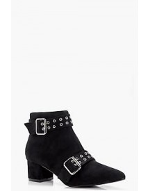 Martha Buckle And Eyelet Pointed Ankle Boots afbeelding