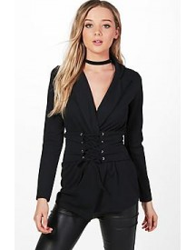 Mary Detachable Corset Belted Blazer afbeelding
