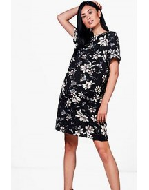 Maternity Cally Floral Printed Cap Sleeve Shift Dress afbeelding