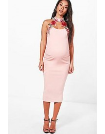 Maternity Fifi Floral Embroidered Choker Midi Dress afbeelding