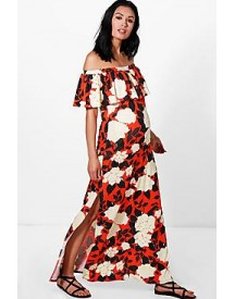 Maternity Grace Off The Shoulder Printed Maxi Dress afbeelding
