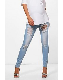 Maternity Sian Rip Skinny Over The Bump Jean afbeelding