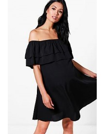 Maternity Zoe Off The Shoulder Ruffle Dress afbeelding