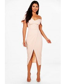 May Off Shoulder Wrap Skirt Midi Dress afbeelding