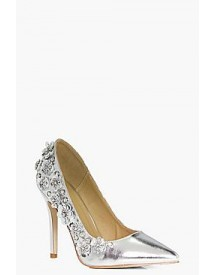 Maya Metallic Flower Embellished Court Shoe afbeelding