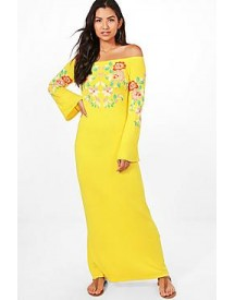Mel Off The Shoulder Printed Embroidery Maxi Dress afbeelding