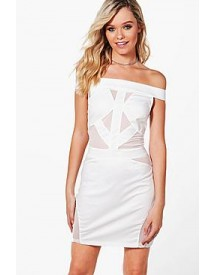 Millie Mesh Insert Off The Shoulder Bodycon Dress afbeelding