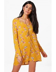 Molly Floral Tie Neck Shift Dress afbeelding