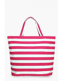 Molly Pink Stripe Beach Bag afbeelding