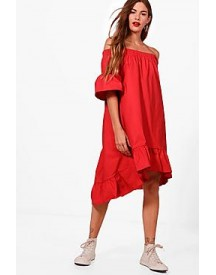 Molly Woven Ruffle Hem Off Shoulder Dress afbeelding