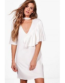 Naomi Deep V Frill Choker Shift Dress afbeelding